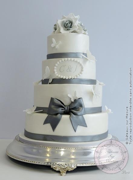 Wedding Cake Blanc Et Argent Gateaux Sur Mesure Paris