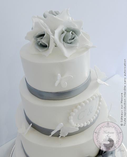 wedding cake blanc et argent | gateaux sur mesure paris