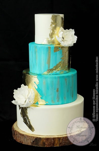 Mint and Ivory Wedding Cake Gateaux sur Mesure Paris ...