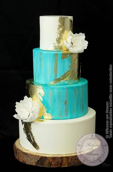 mint and ivory wedding cake | gateaux sur mesure paris
